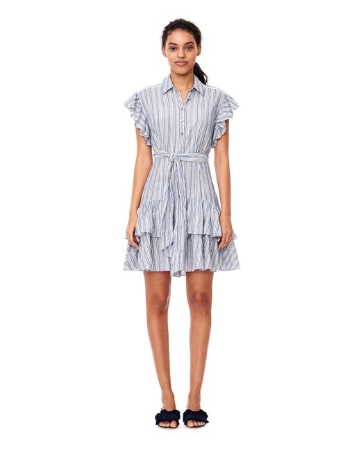 Rebecca Taylor | Blue Yarn-dyed Striped Dress | Lyst