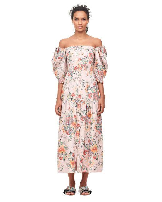 Rebecca Taylor - Pink Off-the-shoulder Marlena Floral Dress - Lyst