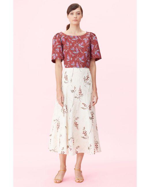 Rebecca Taylor Natural Ivie Fleur Embroidered Skirt