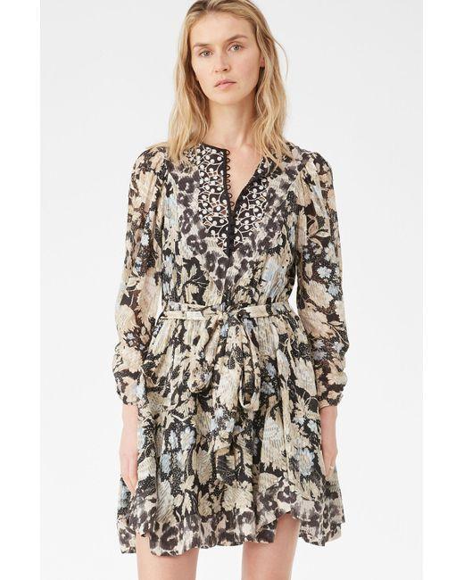 Rebecca Taylor Black Print Mix Clip Dress