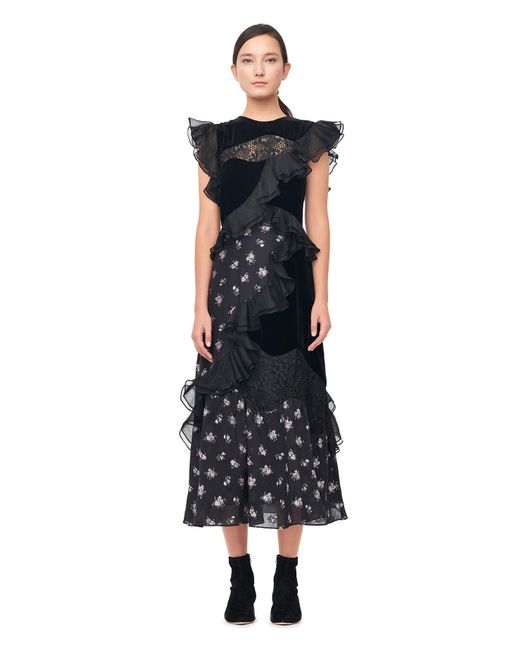 Rebecca Taylor | Black Floral Jacquard & Velvet Dress | Lyst