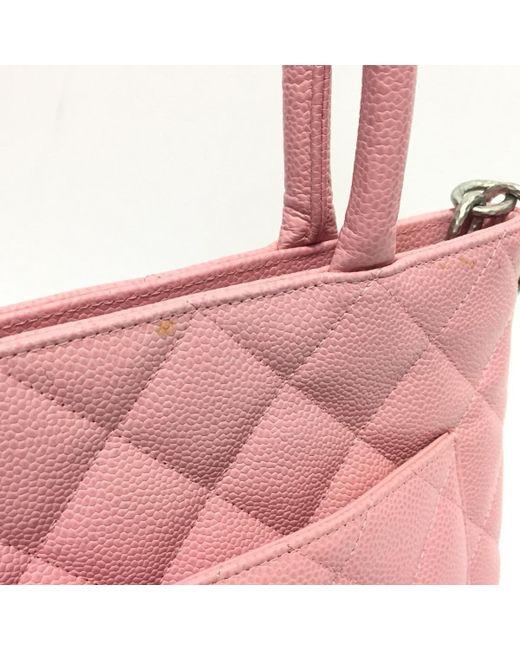 855ec13a3de1f7 ... Chanel - Medalloin Shoulder Tote Hand Bag Caviar Skin Leather Pink Used  Vintage - Lyst ...