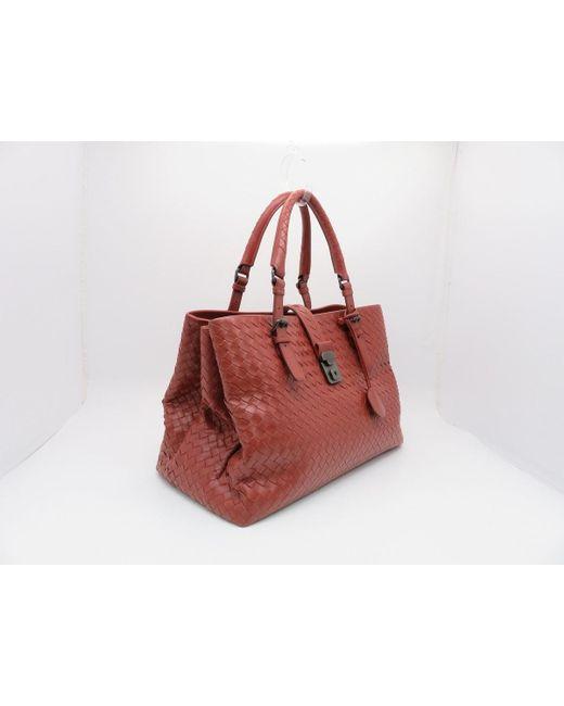 8980e344312f ... Bottega Veneta - Tote Bag Handbag Intrecciato Leather Brown-ish Red  1175 - Lyst ...