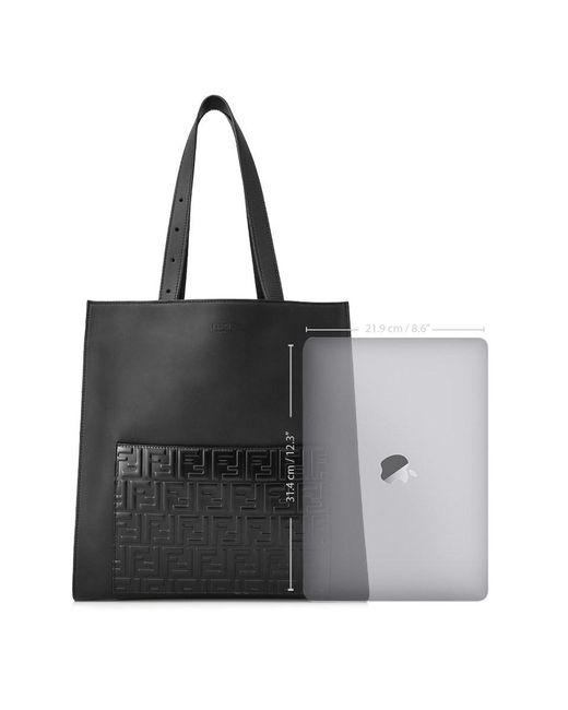 07e62792092a ... Fendi - Black Embossed Ff Logo Tote for Men - Lyst ...