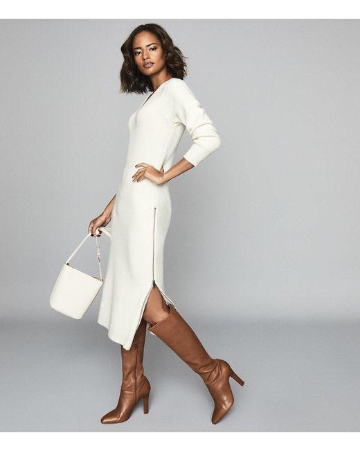 Reiss White Gina - Ribbed-knit Midi Dress