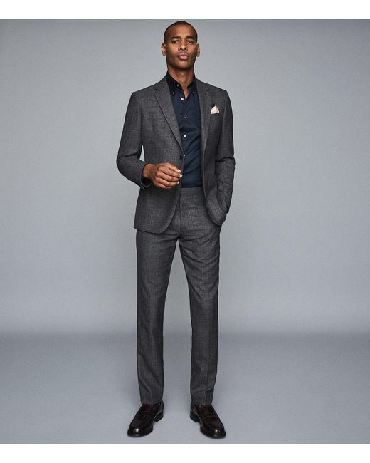 Reiss Blue Redsnap Slim - Slim Fit Button Down Shirt for men
