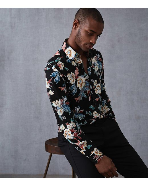 Reiss - Black Vogal - Long Sleeved Floral Printed Shirt for Men - Lyst
