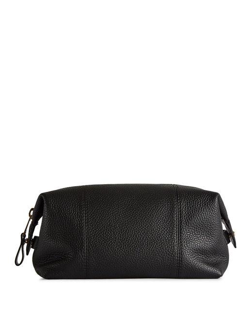 521fba01681 Reiss - Black Wellington - Grained Leather Wash Bag for Men - Lyst ...