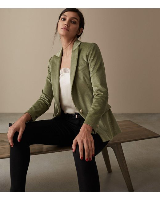 e690faceb Reiss Carie Jacket - Corduroy Tailored Blazer in Green - Lyst