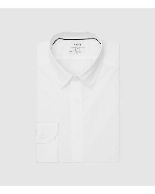 Reiss White Cotton Stretch Poplin Slim Fit Shirt for men