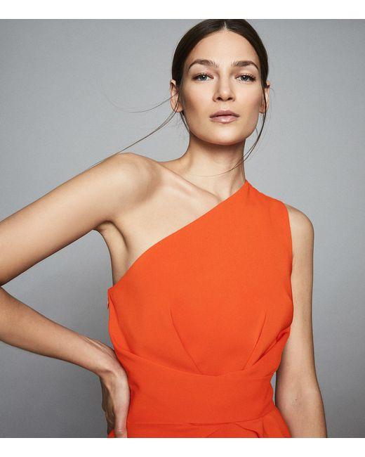 12363b98b0d ... Reiss - Orange Laurent - One Shoulder Slim Fit Dress - Lyst