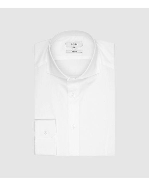 Reiss White Cotton Twill Slim Fit Shirt for men