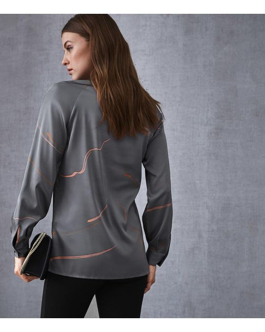 2afa0aa4cc4f3b ... Reiss - Gray Pippy - Abstract Printed V-neck Blouse - Lyst ...