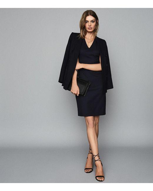 Reiss Blue Hartley Sleeveless Dress - Tailored V-neck Dress