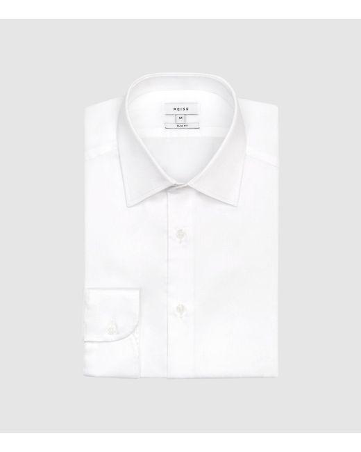 Reiss White Cotton Satin Stretch Slim Fit Shirt for men