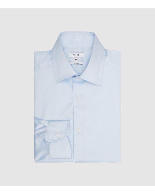 Reiss Blue Cotton Satin Stretch Slim Fit Shirt for men