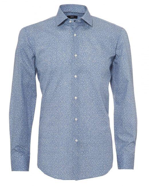 BOSS Jenno Shirt, Micro Floral Print Navy Blue Shirt for men