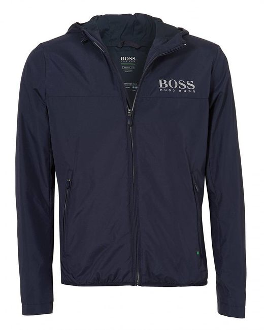 BOSS - Blue Jeltech Jacket, Reflective Branding Navy Jacket for Men - Lyst