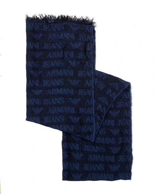 Emporio Armani - Navy Blue All Over Logo Lightweight Scarf for Men - Lyst