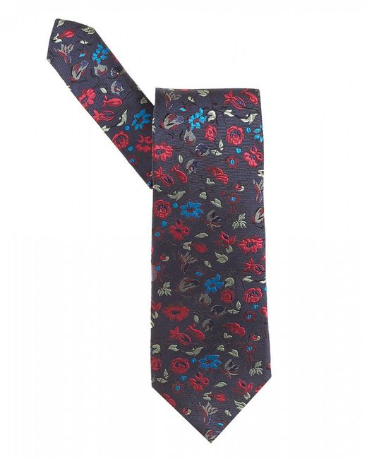 Etro - Small Floral Print Navy Blue Tie for Men - Lyst