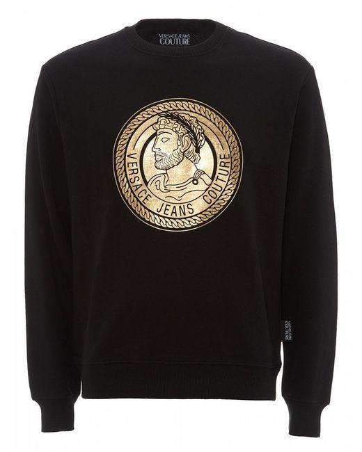 Versace Jeans Golden Foil Sweatshirt, Black Logo Sweat for men