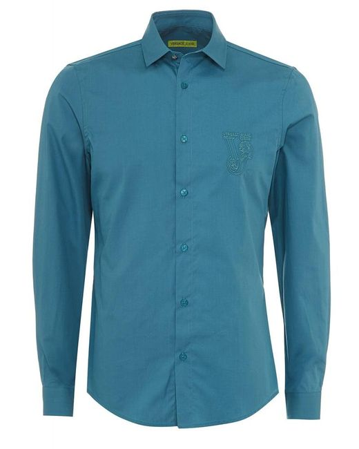 Versace Jeans | Shirt Blue Slim Fit Cotton Plain Shirt for Men | Lyst