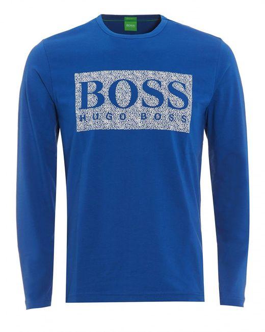 BOSS Green   Togn 1 T-shirt, Monaco Blue Long Sleeve Logo Tee for Men   Lyst