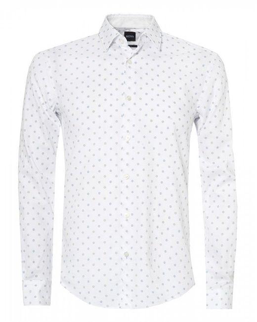 BOSS White Ronni 53f Two Tone Dot Shirt for men
