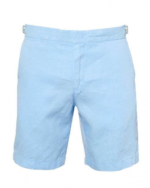 Orlebar Brown - Norwich Tailored Fit Linen Blue Shorts for Men - Lyst