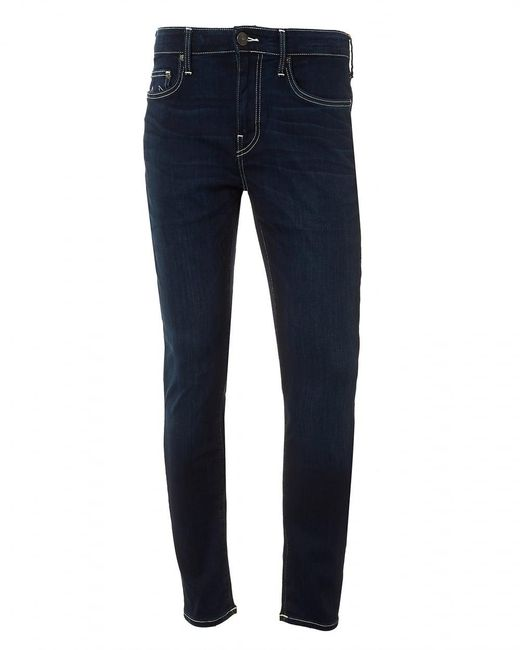 True Religion - Blue Jack Runner Jeans, White Stitching Dark Ink Denim for Men - Lyst