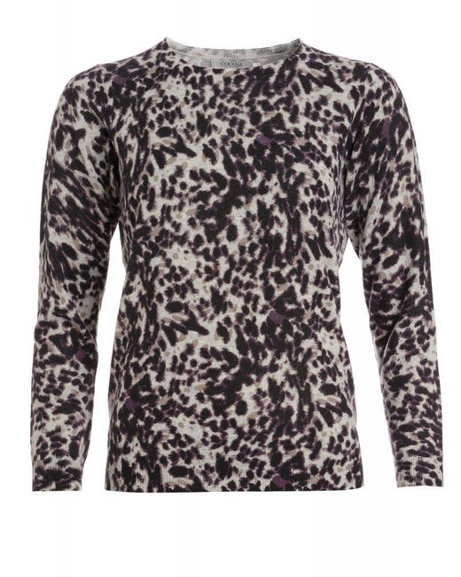 Cocoa Cashmere - Gray Black And Grey Animal Print Loose Fit Jumper - Lyst