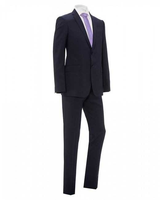 Emporio Armani Blue Natural Stretch Wool Suit for men