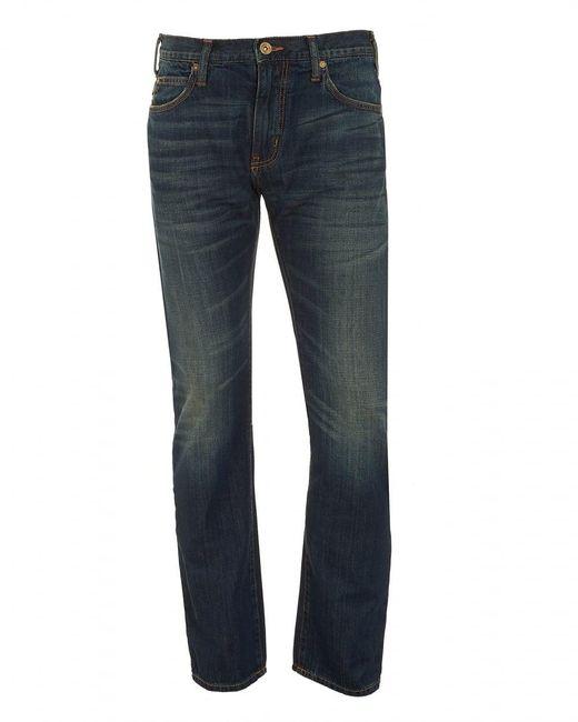 Armani - J45 Jeans, Dark Whisker Navy Blue Slim Fit Denim for Men - Lyst