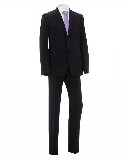 Emporio Armani Navy Blue Natural Stretch Wool Suit for men
