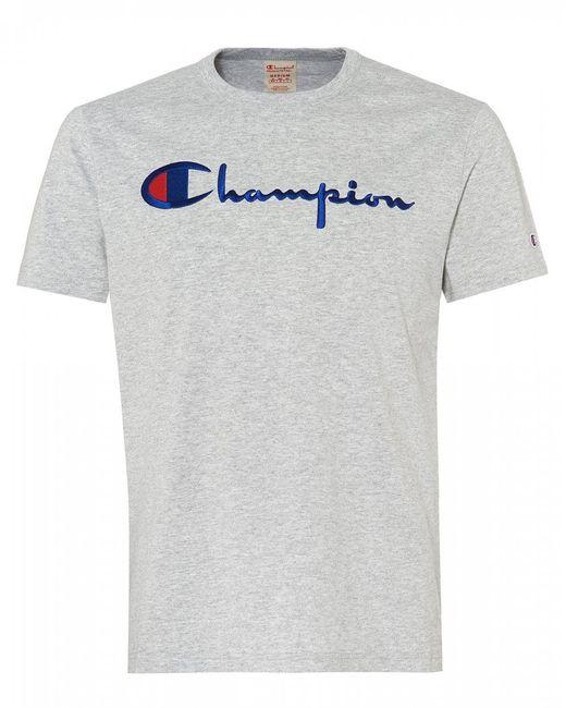 29214797 Lyst - Champion Script Logo T-shirt, Regular Fit Tee in Gray for Men ...