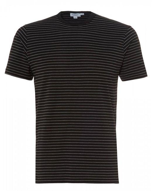 Sunspel Fine Striped T-shirt, Black Cotton Tee for men