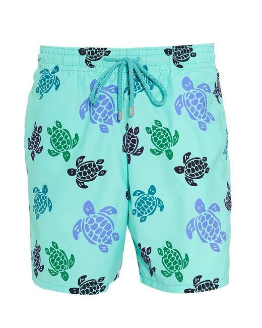 Vilebrequin Moorea Swim Shorts, Blue Large Turtle Print Swimming Trunks for men