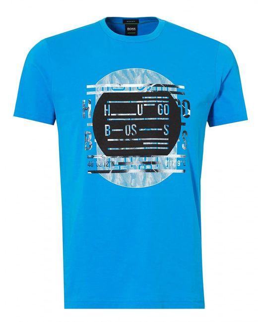 BOSS - Tee 4 T-shirt, Record Deck Print Blue Astor Tee for Men - Lyst