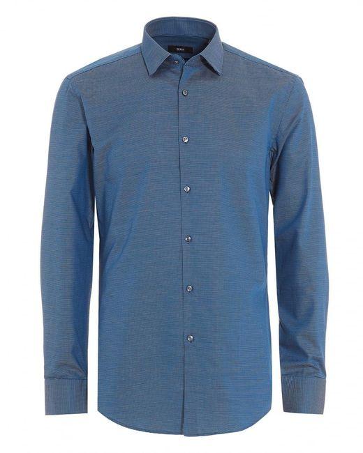 BOSS - Jenno Navy Blue Textured Dress Shirt for Men - Lyst