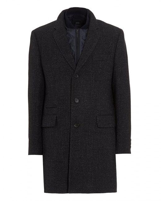 BOSS - Blue Nadim Detachable Panel Navy Fleck Coat for Men - Lyst