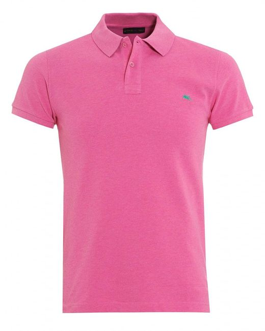 Lyst etro pink slim fit polo shirt in pink for men for Mens pink shirts uk