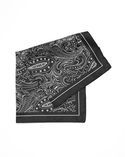BOSS Gray Pocket Square Charcoal Grey Paisley Print Silk Scarf for men