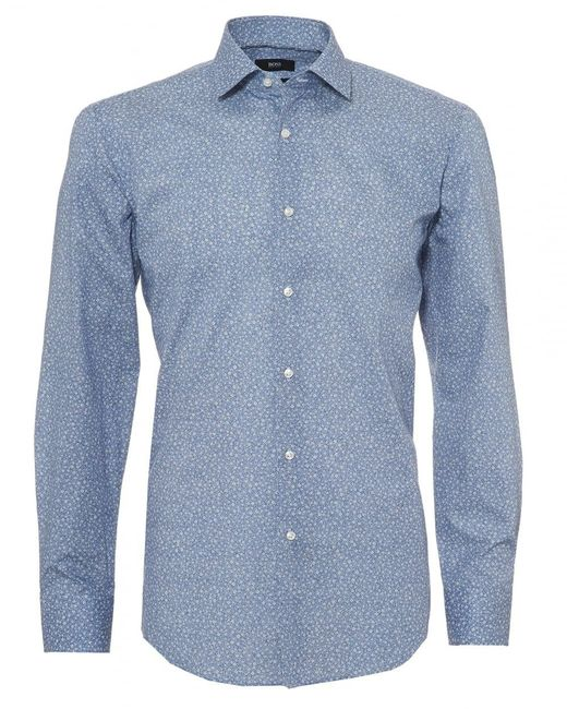 BOSS - Jenno Shirt, Micro Floral Print Navy Blue Shirt for Men - Lyst