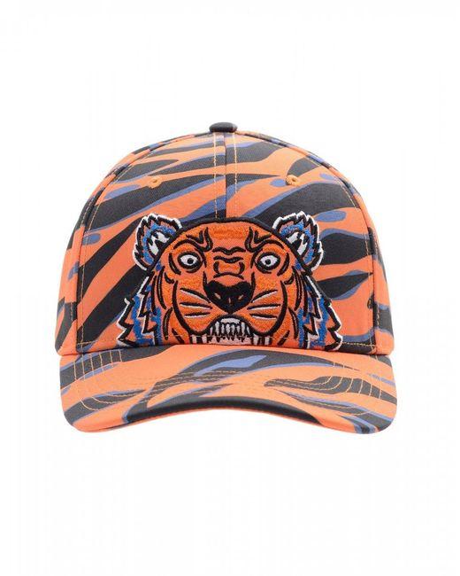 KENZO Tiger Camo Baseball Cap, Black & Orange Hat for men
