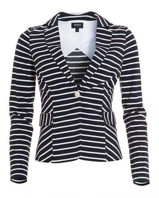Armani Jeans   Striped Blazer, Stretch Jersey White Navy Blue Jacket   Lyst