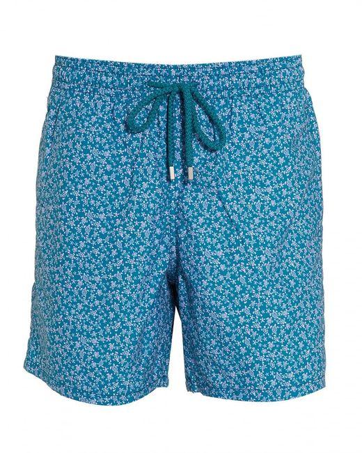Vilebrequin Blue Moorea Micro Turtles-print Swim Shorts for men