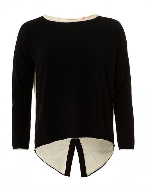 Cocoa Cashmere | Claire Jumper, Button Back Black Cream Sweater | Lyst