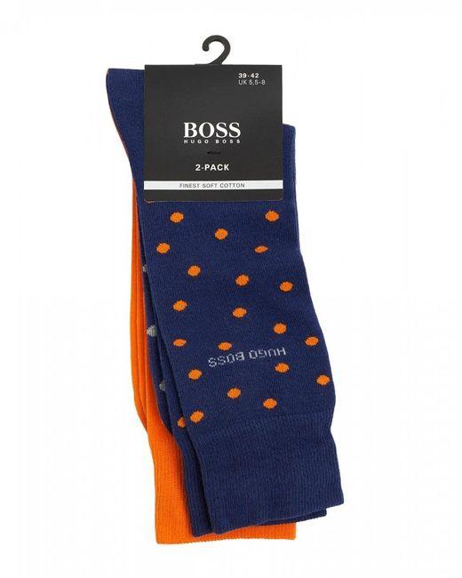BOSS Blue Polka Dot & Plain Cotton Blend Socks for men