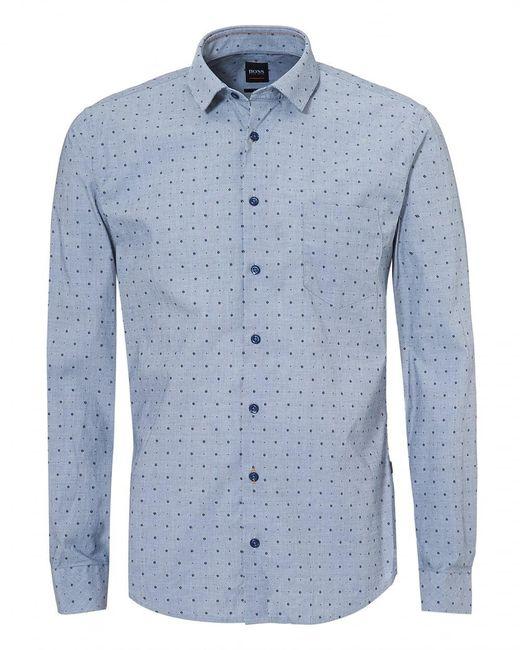 BOSS by Hugo Boss - Epop-1 Sky Navy Blue Long Sleeve Slim Fit Shirt for Men - Lyst