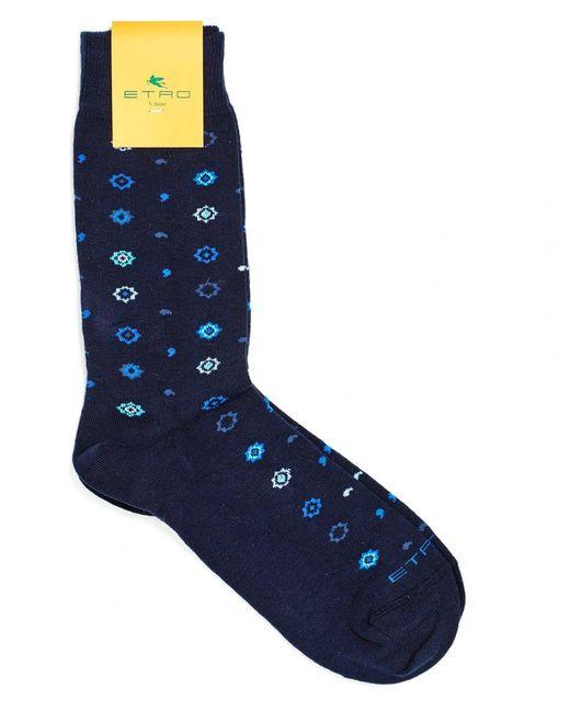 Etro - Blue Socks, All Over Stars And Squiggles Print Navy Socks for Men - Lyst